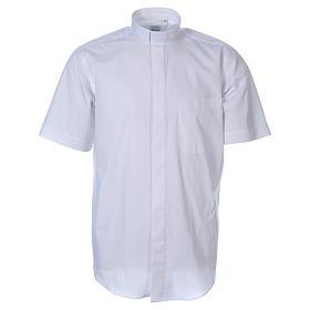 STOCK White short sleeve clergy shirt, poplin s1