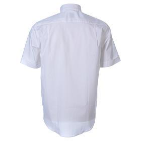 STOCK White short sleeve clergy shirt, poplin s2