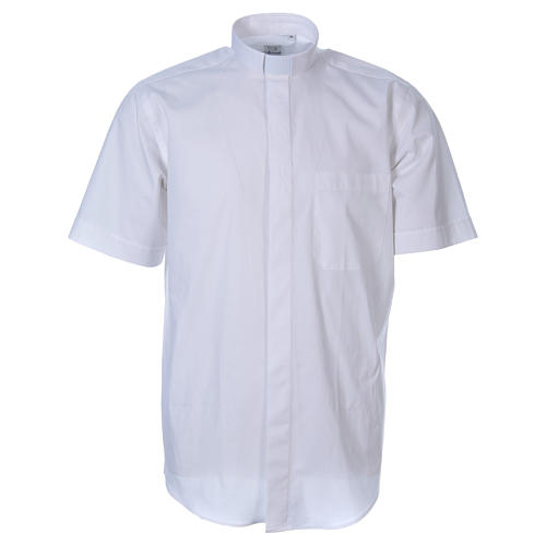 STOCK White short sleeve clergy shirt, poplin 1