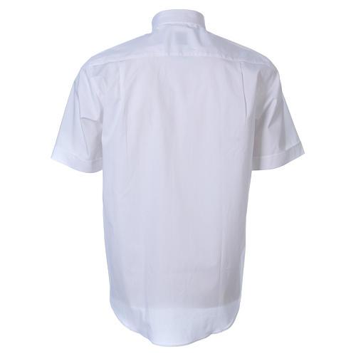 STOCK White short sleeve clergy shirt, poplin 2