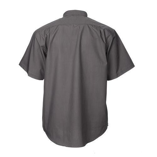 STOCK Collarhemd mit Kurzarm aus Baumwoll-Polyester-Mischgewebe in der Farbe Dunkelgrau 2
