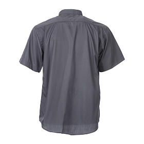 STOCK Clergy shirt, short sleeves in dark grey mixed cotton s4