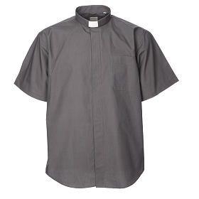 STOCK Clergy shirt, short sleeves in dark grey mixed cotton s1