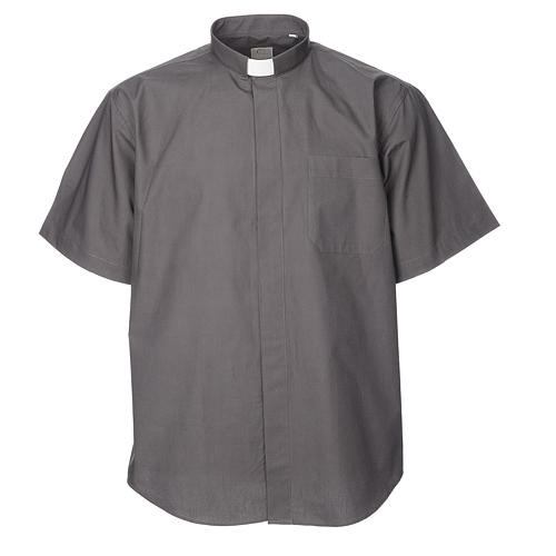 STOCK Clergy shirt, short sleeves in dark grey mixed cotton 1