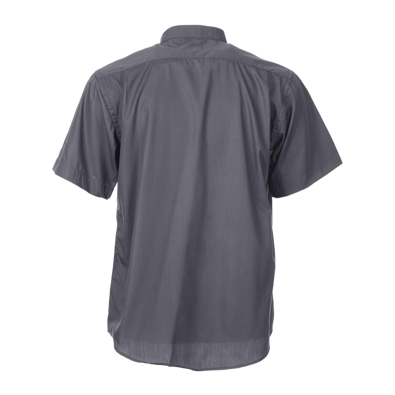STOCK Camicia clergy manica corta misto grigio scuro 4