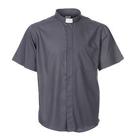 STOCK Camicia clergy manica corta misto grigio scuro s3