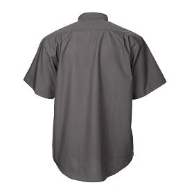 STOCK Camicia clergy manica corta misto grigio scuro s6