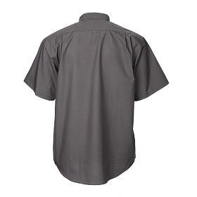 STOCK Camicia clergy manica corta misto grigio scuro s2