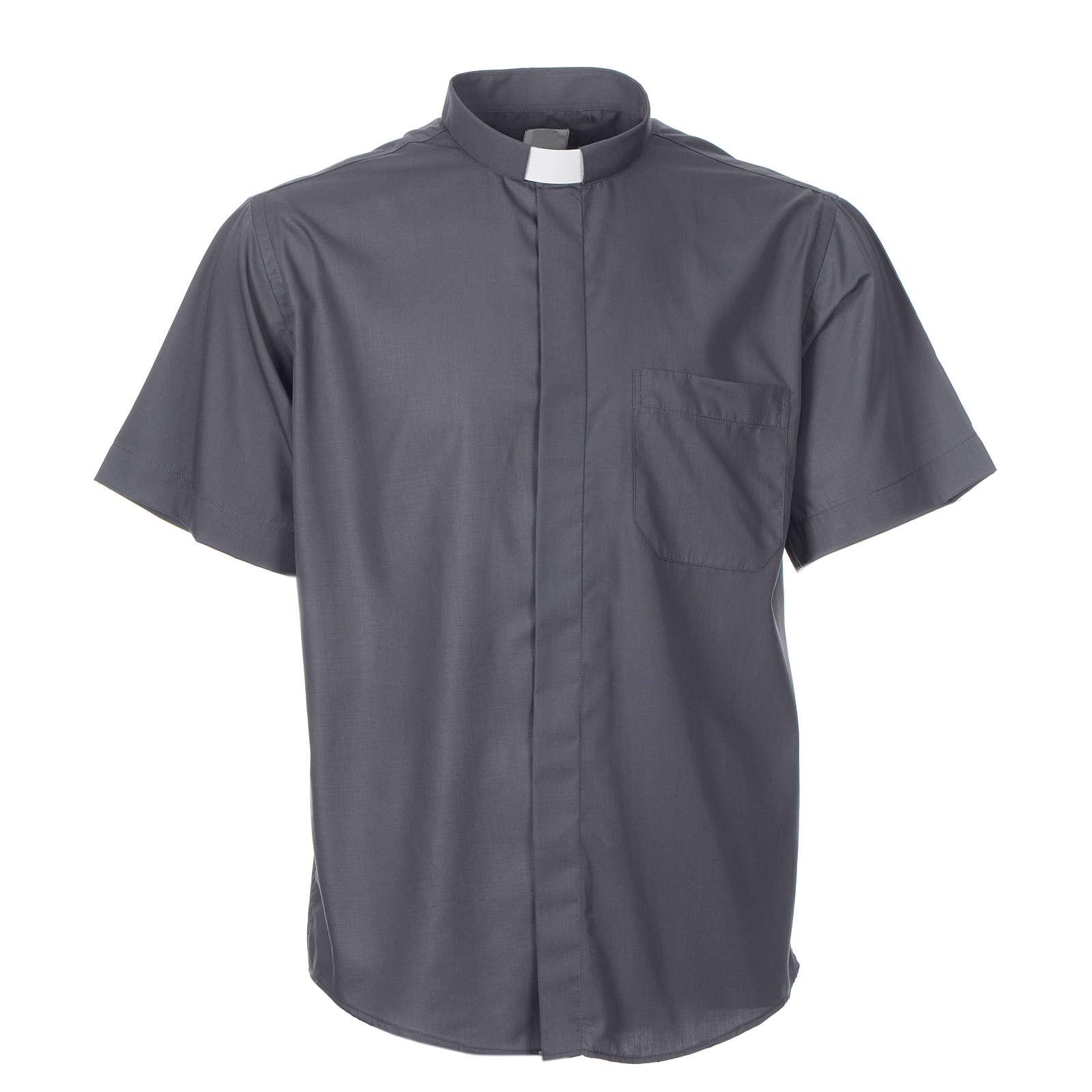 STOCK Koszula kapłańska krótki rękaw bawełna mieszana 4