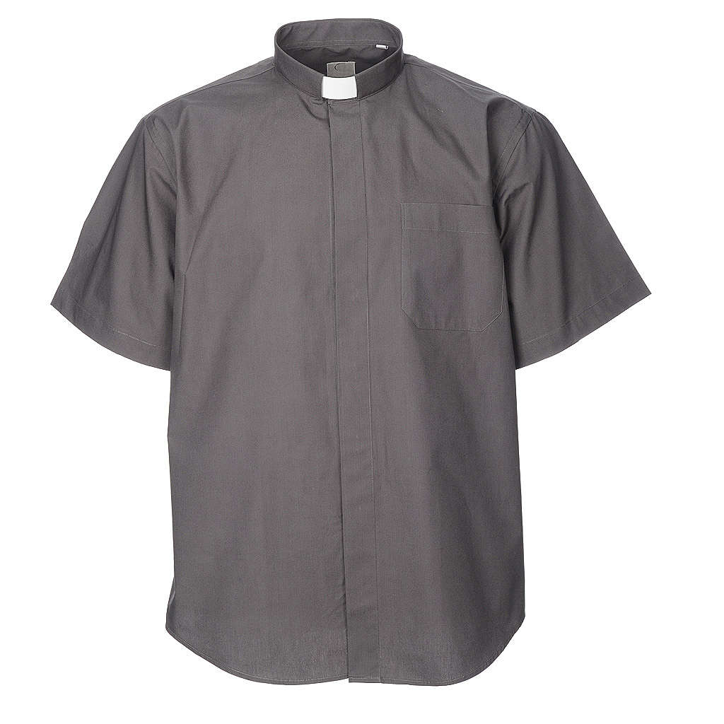 STOCK Camisa clergyman manga curta misto cinzento escuro 4