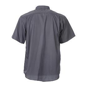 STOCK Camisa clergyman manga curta misto cinzento escuro s4