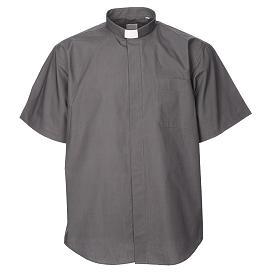 Camisas de Sacerdote: STOCK Camisa clergyman manga curta misto cinzento escuro