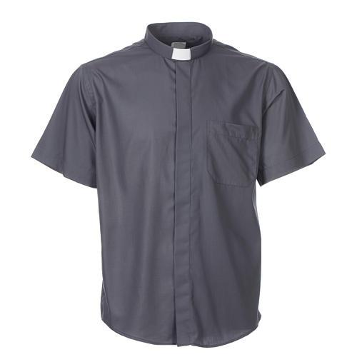 STOCK Camisa clergyman manga curta misto cinzento escuro 3