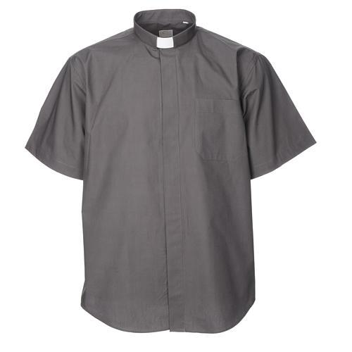 STOCK Camisa clergyman manga curta misto cinzento escuro 5