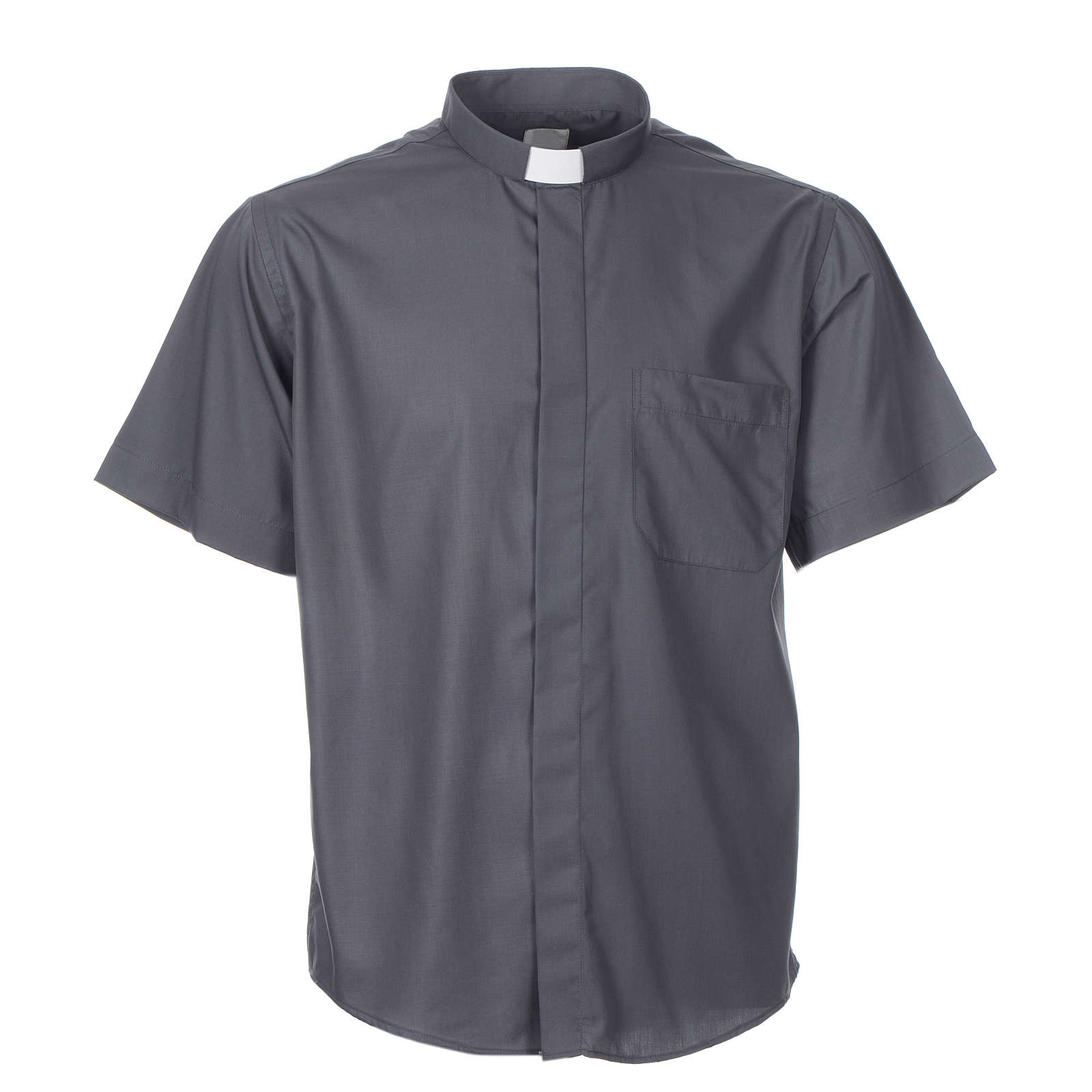 STOCK Clergy shirt, short sleeves in dark grey mixed cotton 4