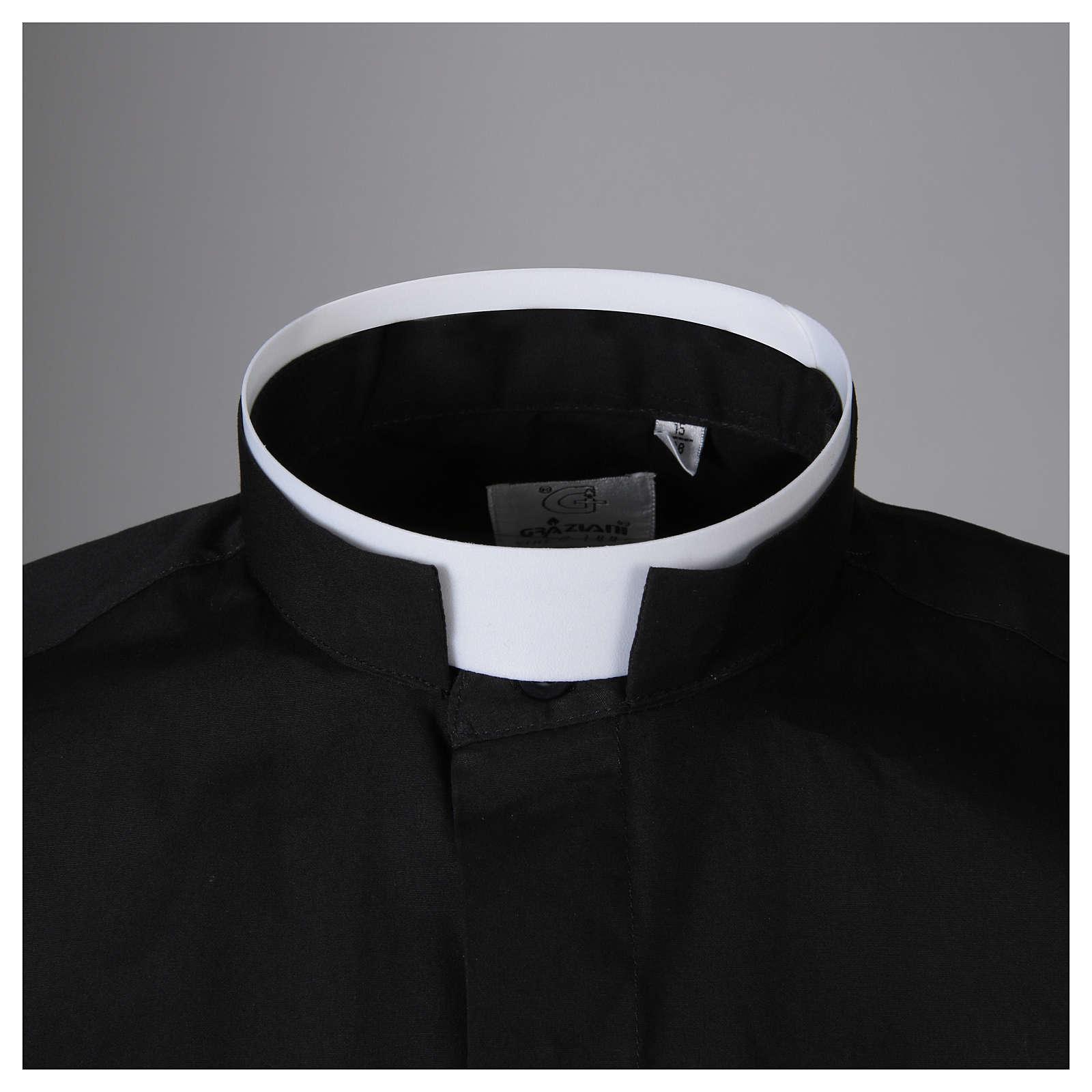STOCK Camicia clergy manica lunga popeline nera collo romano 4