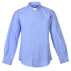 STOCK Clergy shirt, long sleeves in light blue mixed cotton s1