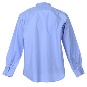 STOCK Clergy shirt, long sleeves in light blue mixed cotton s2