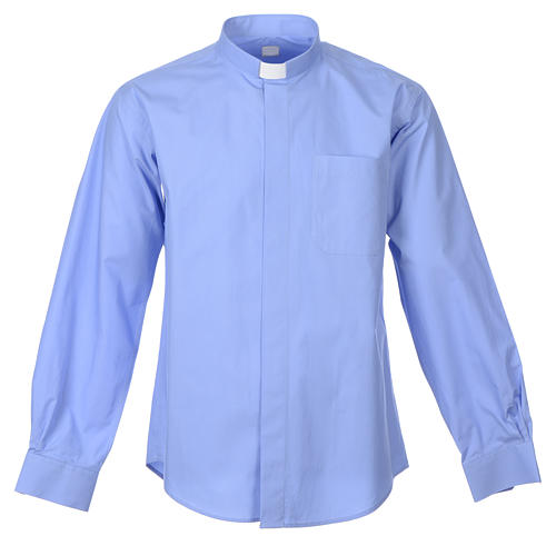 STOCK Clergy shirt, long sleeves in light blue mixed cotton 1