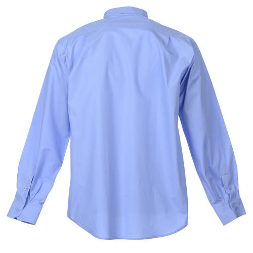 STOCK Clergy shirt, long sleeves in light blue mixed cotton 2