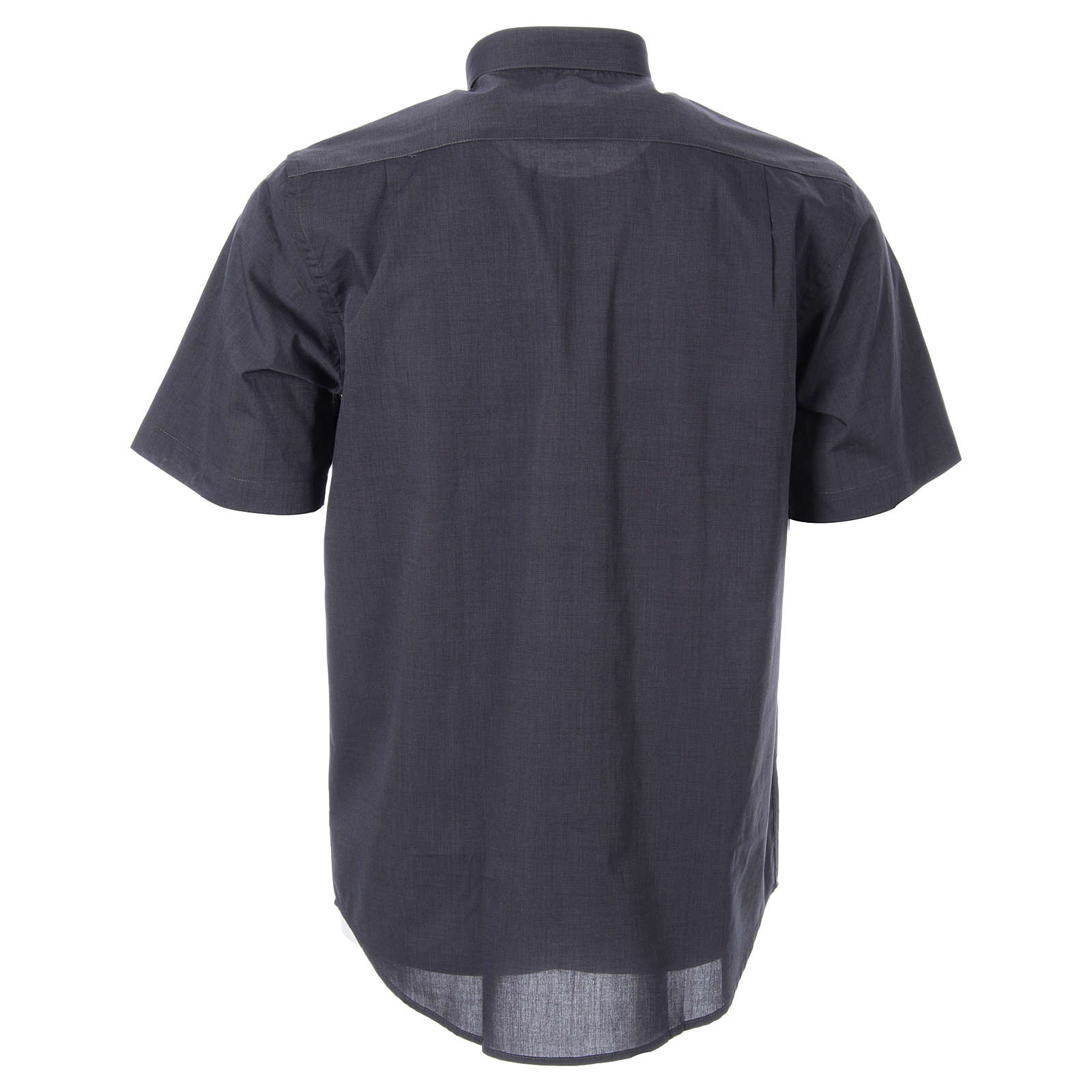STOCK Clergy shirt in dark grey fil-a-fil cotton, short sleeves 4