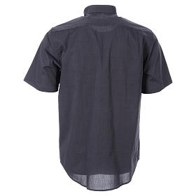 STOCK Clergy shirt in dark grey fil-a-fil cotton, short sleeves s2