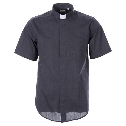 STOCK Clergy shirt in dark grey fil-a-fil cotton, short sleeves 1