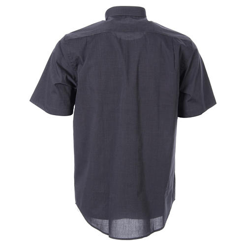 STOCK Clergy shirt in dark grey fil-a-fil cotton, short sleeves 2