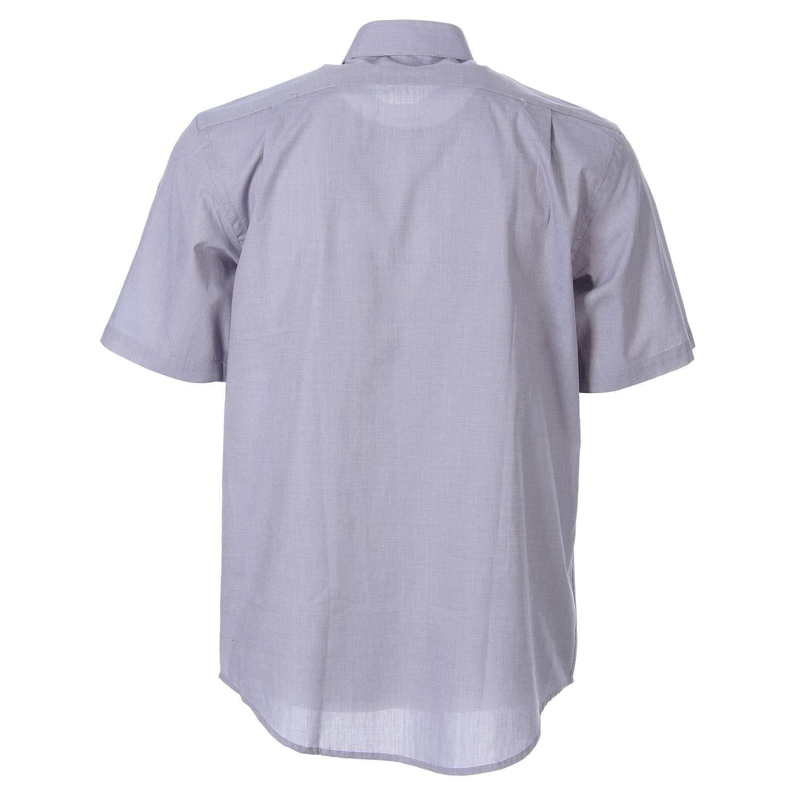 STOCK Camicia clergy manica corta filafil grigio chiaro 4