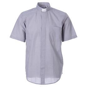 STOCK Camicia clergy manica corta filafil grigio chiaro s1