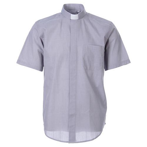 STOCK Camicia clergy manica corta filafil grigio chiaro 1