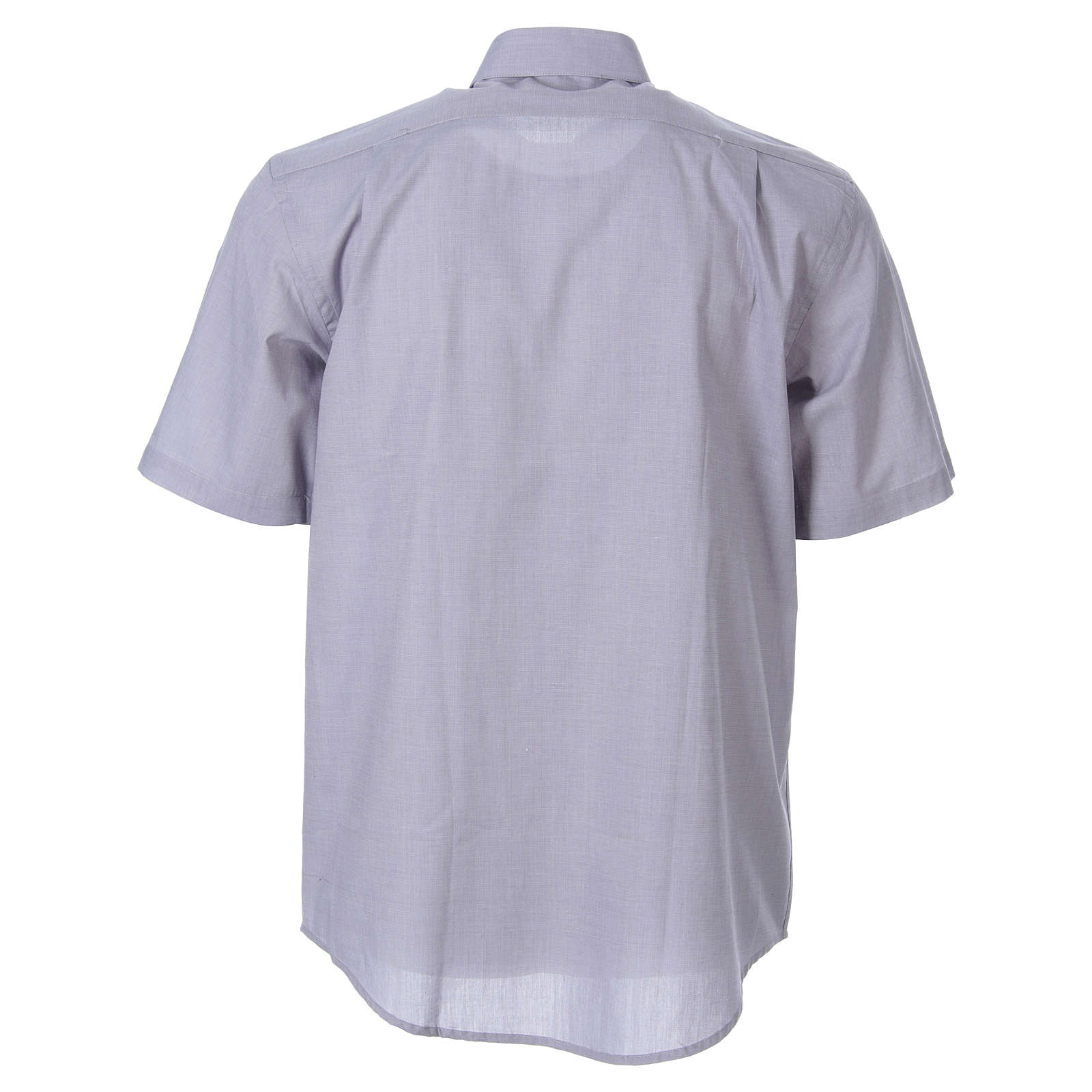 STOCK Clergy shirt in light grey fil-a-fil cotton, short sleeves 4