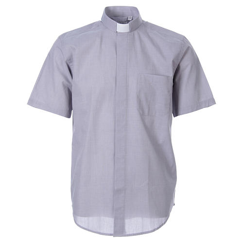 STOCK Clergy shirt in light grey fil-a-fil cotton, short sleeves 1