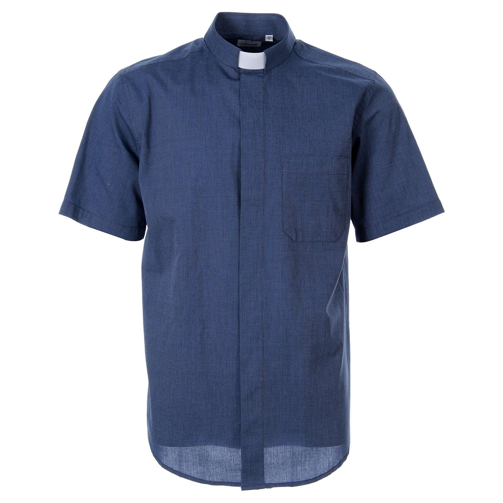 STOCK Camicia clergy manica corta filafil blu 4