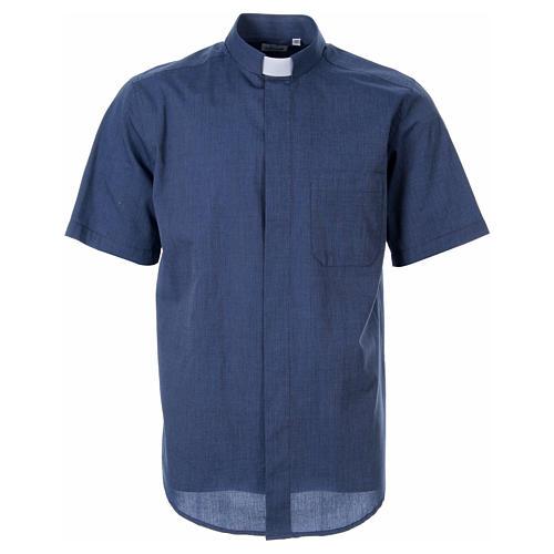 STOCK Camicia clergy manica corta filafil blu 1