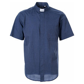STOCK Clergy shirt in blue fil-a-fil cotton, short sleeves s1