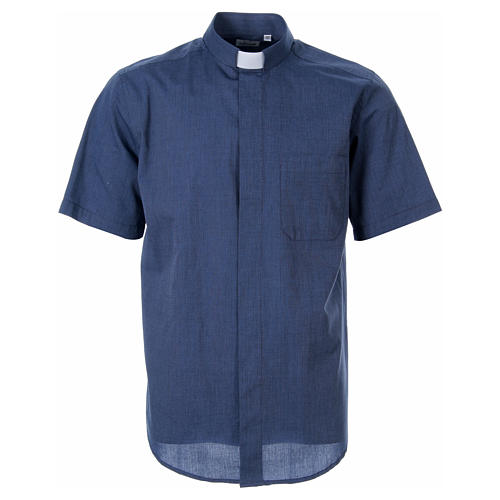 STOCK Clergy shirt in blue fil-a-fil cotton, short sleeves 1