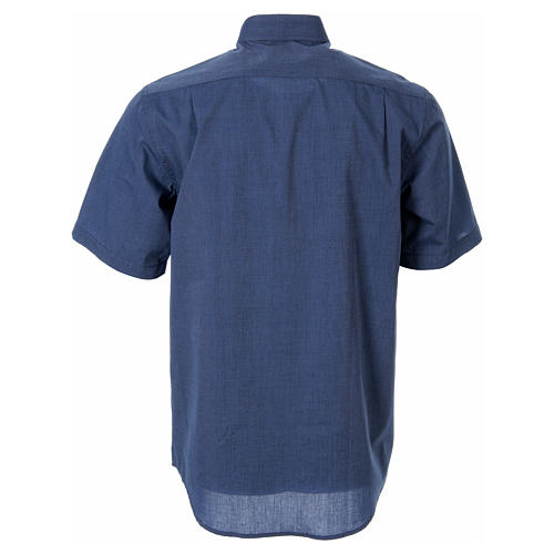 STOCK Clergy shirt in blue fil-a-fil cotton, short sleeves 2