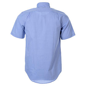 STOCK Clergyman shirt in light blue fil-a-fil cotton, short sleeves s2
