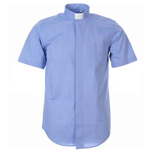 STOCK Clergyman shirt in light blue fil-a-fil cotton, short sleeves 1