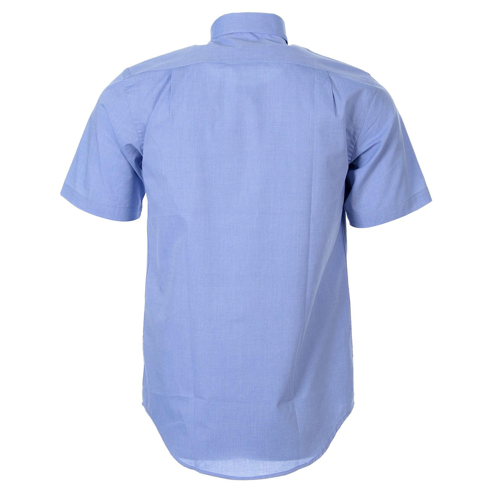 STOCK Koszula kapłańska krótki rękaw filafil błękitna 4