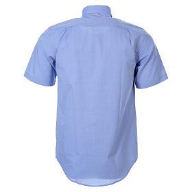STOCK Clergyman shirt in light blue fil-a-fil cotton, short sleeves s2