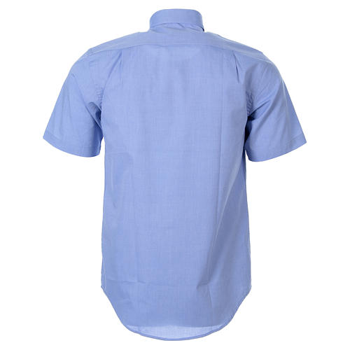 STOCK Clergyman shirt in light blue fil-a-fil cotton, short sleeves 2