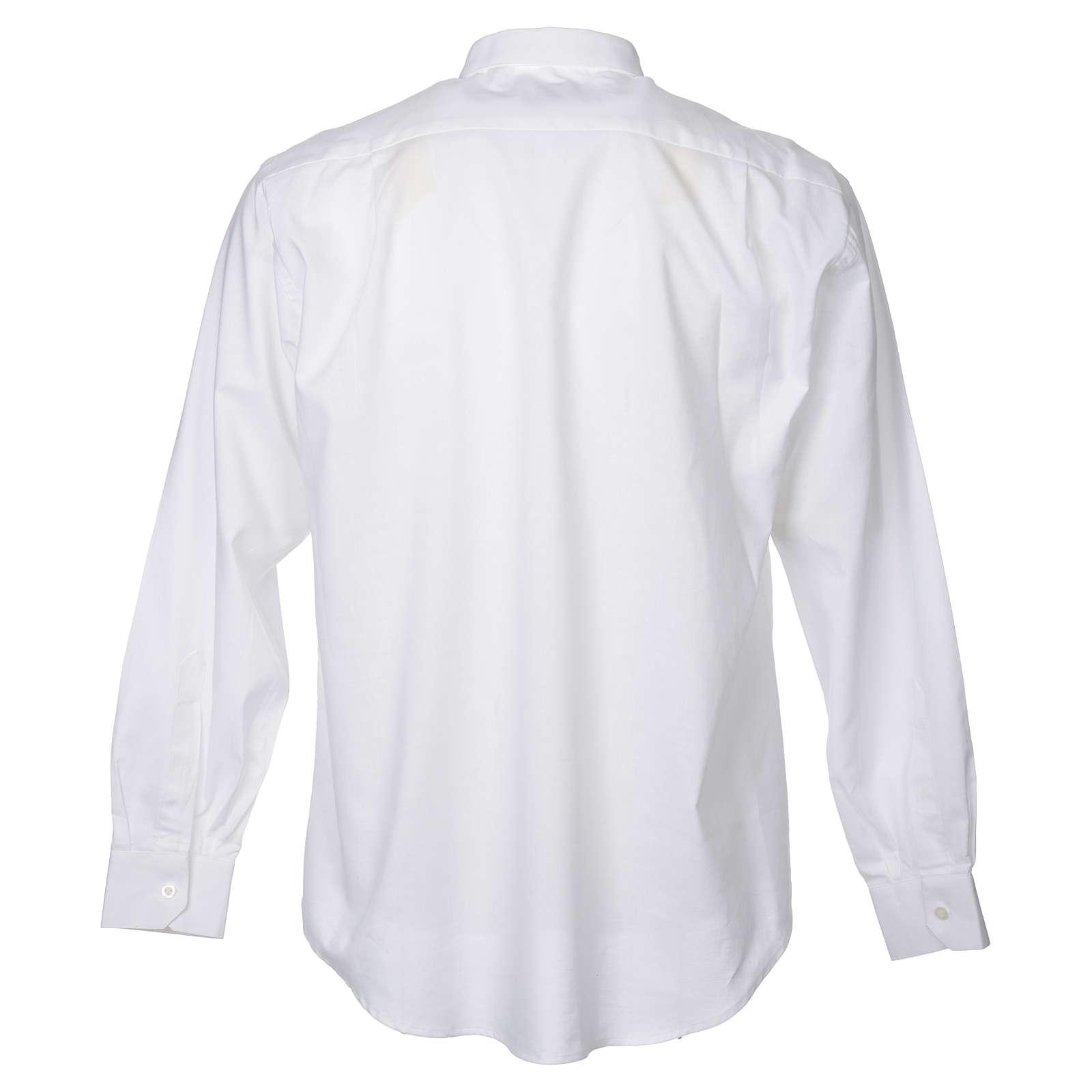 STOCK Camicia clergy manica lunga misto bianca 4