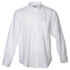 STOCK Camicia clergy manica lunga misto bianca s1