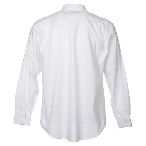 STOCK Camicia clergy manica lunga misto bianca 2