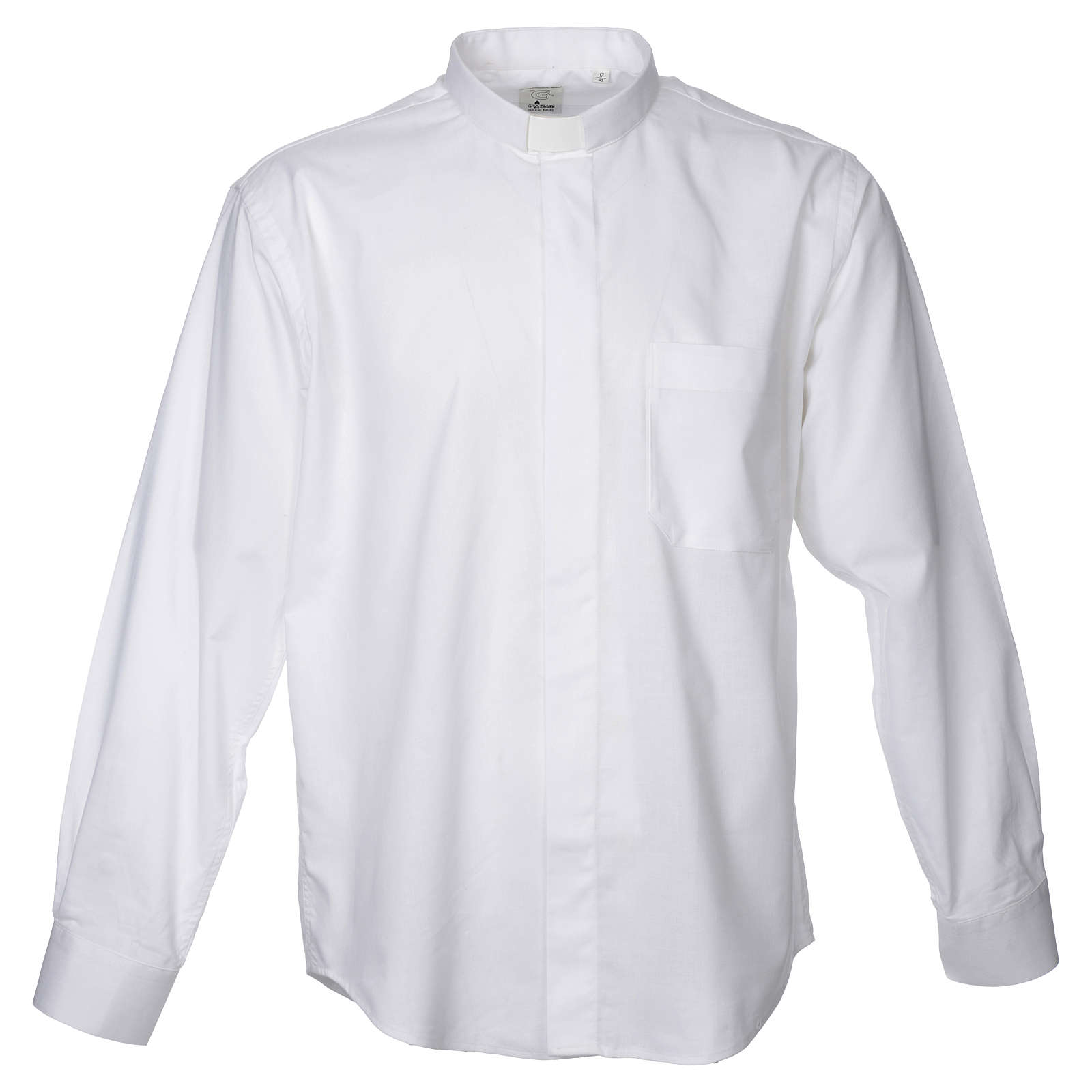 STOCK Clergy shirt in white mixed cotton, long sleeves 4