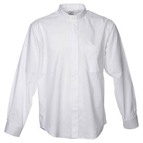 STOCK Clergy shirt in white mixed cotton, long sleeves s1