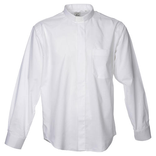 STOCK Clergy shirt in white mixed cotton, long sleeves 1