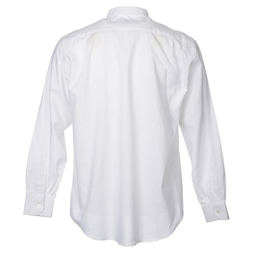 STOCK Clergy shirt in white mixed cotton, long sleeves 2